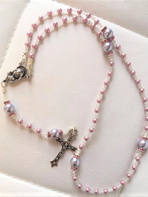 Soft Pink and Gray Pearl Rosary Beads (matching Rosary Bracelet sold separately)