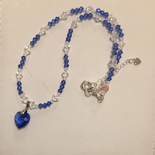 Sapphire Crystal Heart Pendant Necklace