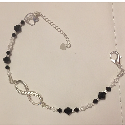 Black and Clear Crystal Infinity Bracelet