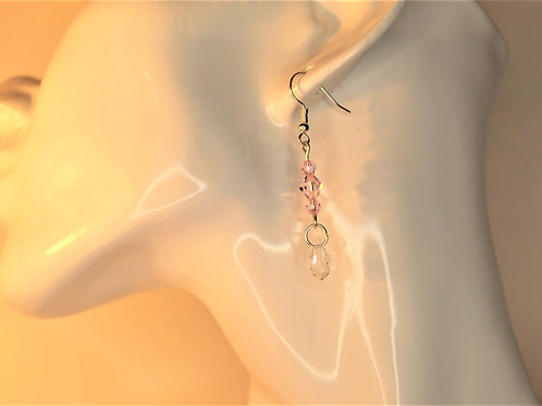 Soft Pink and Crystal Dangling Earrings