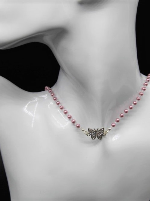 Blush Pink Pearl and Rhinestone Butterfly Choker Necklace