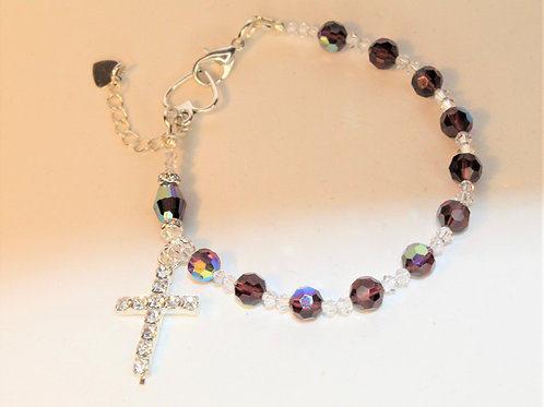 Burgundy Crystal Rosary Bracelet
