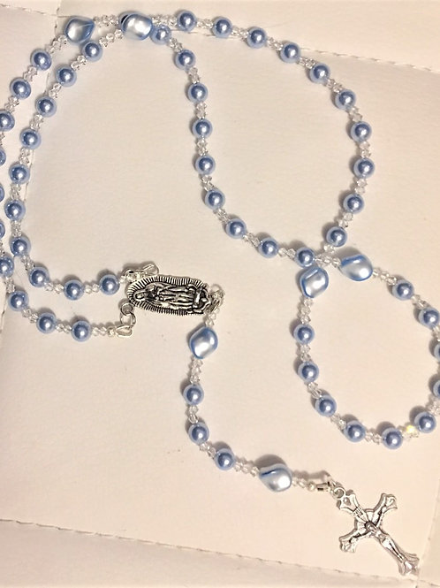 Baby Blue Pearls with Clear Crystals
