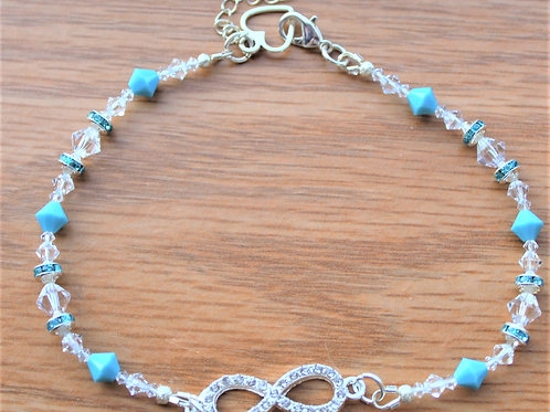 Turquoise Crystal Infinity Ankle Bracelet