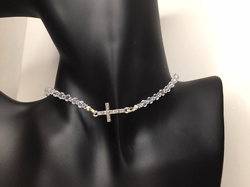 Clear Crystal and Rhinestone Cross Choker Necklace