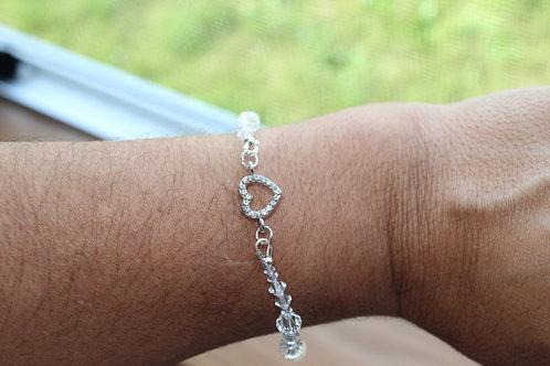 Heart Connector Clear Crystal Bracelet