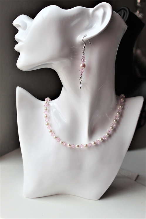 Pink Pearl and Crystal Necklace - Additional Items sold separately