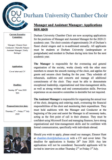 Applications for Manager and Assistant Manager are now open!!