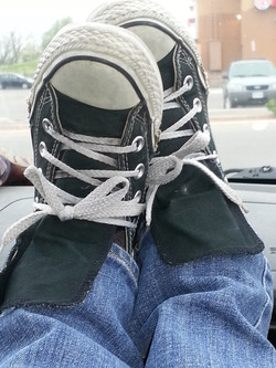 My travelling feet in sneakers.