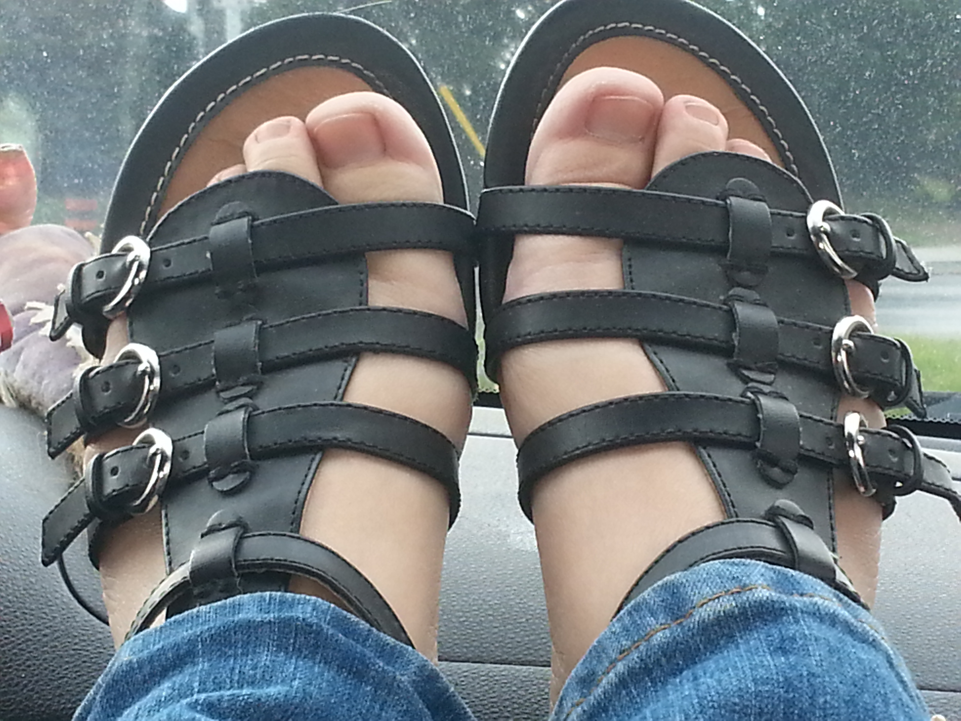 My travelling feet in sandals.