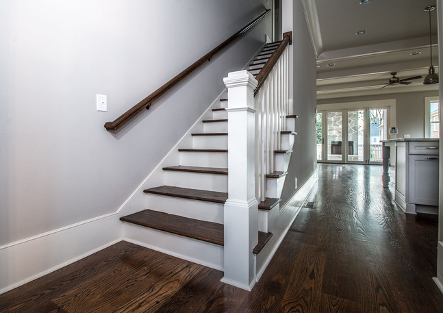 Open floorplan with stairway to second floor