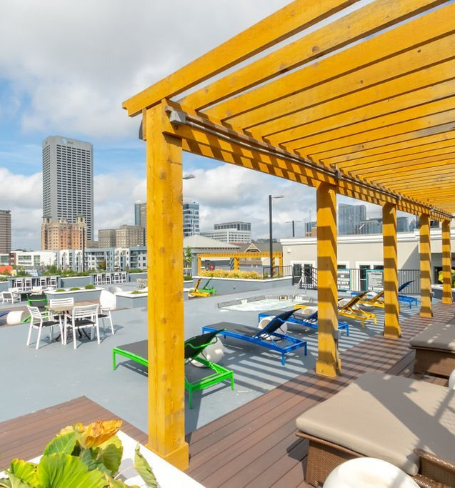 Additional rooftop seating with a view of midtown ATL