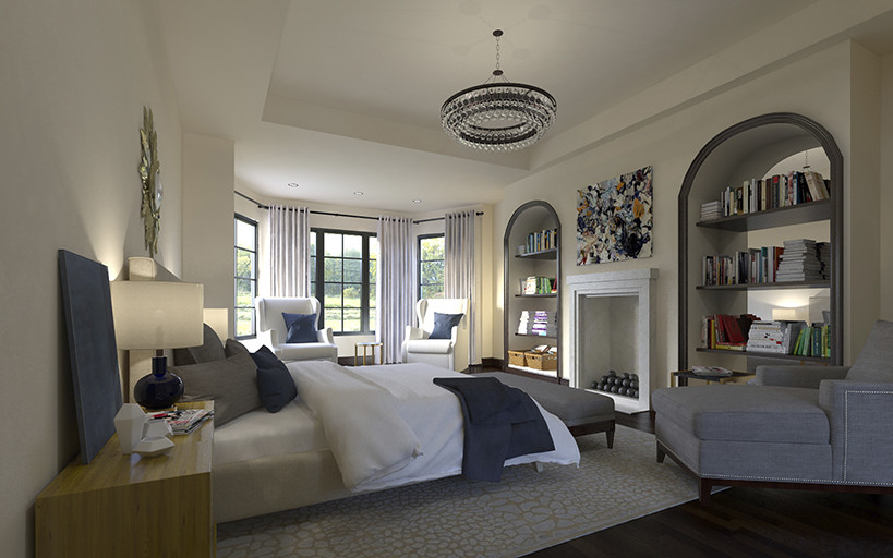 A spacious and elegant bedroom