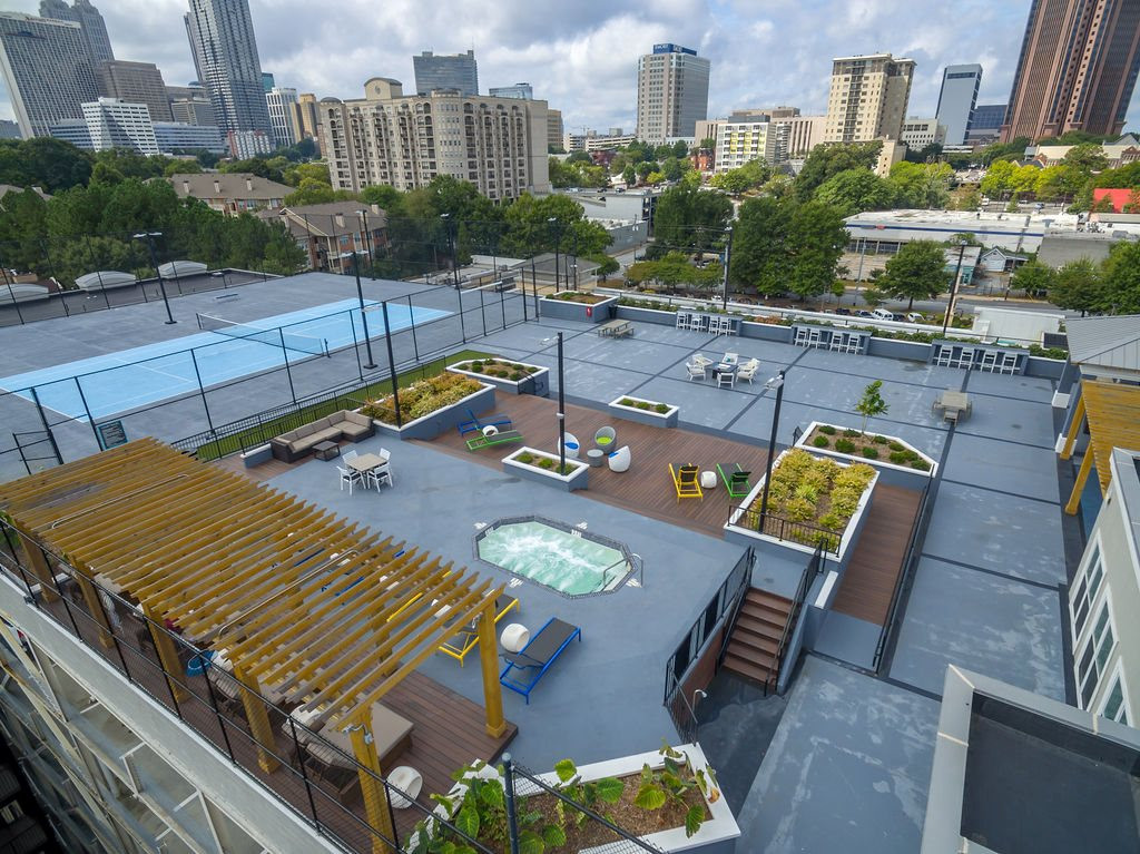 An aerial view of the rooftop deck