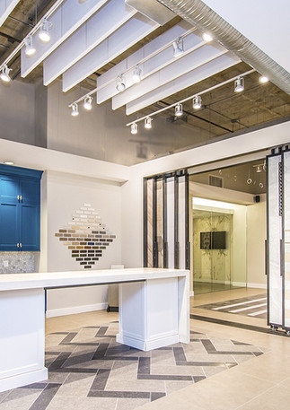 Sample kitchen within a showroom