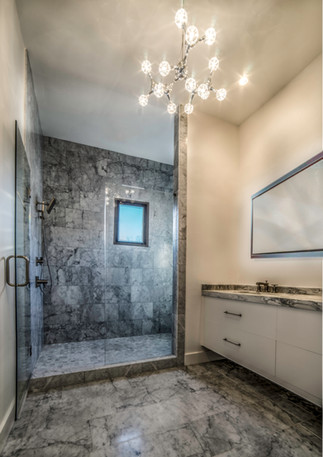 Master bathroom with 10 ft marble shower