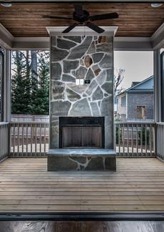 Porch with accordion doors