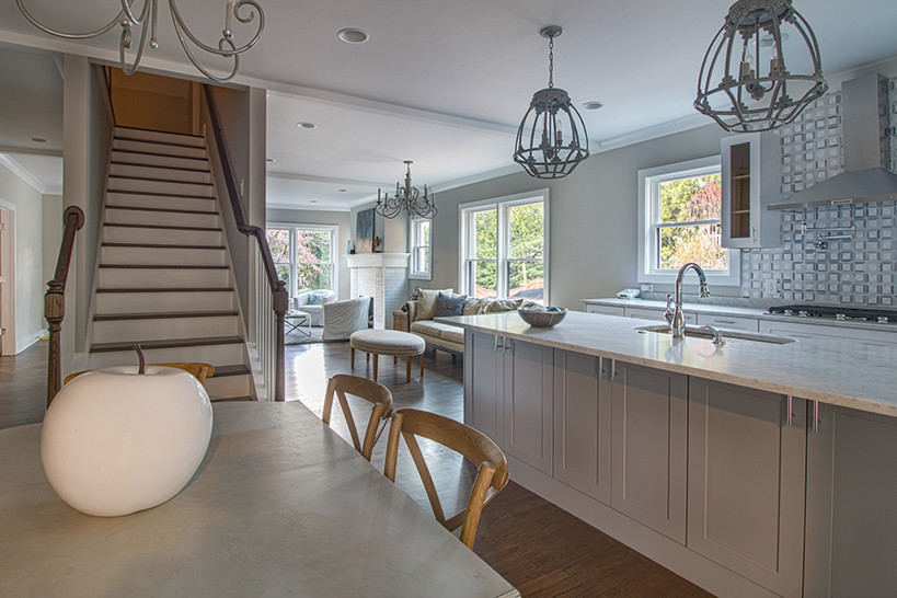 An open kitchen and dining area