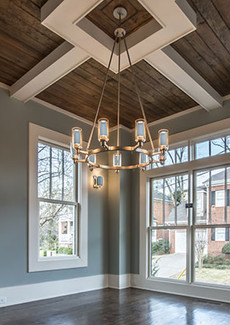 Dining room with custom oak ceiling