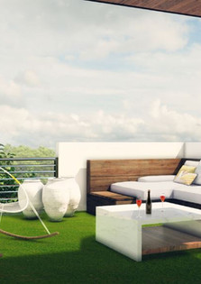 A rooftop deck with stunning views of the city