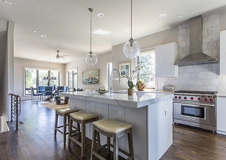 A bright and open kitchen and dining area
