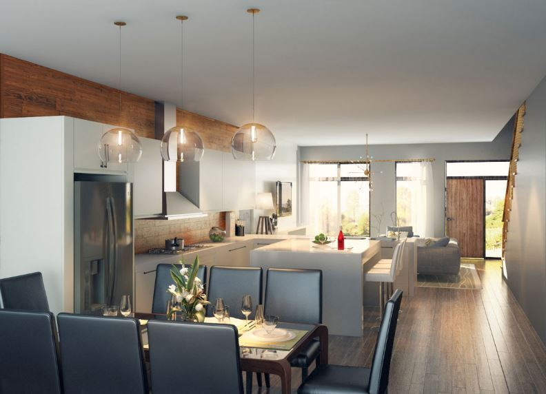 An open kitchen and dining room
