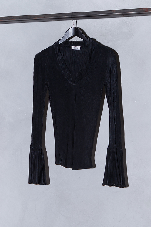 MOSCHINO BLACK PLEATED FLARED SLEEVE TOP