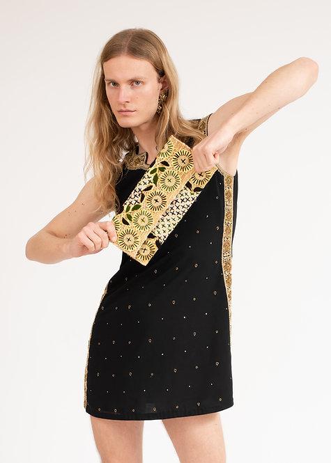 MINI BLACK DETAILDED DRESS & STRAW HAND BAG