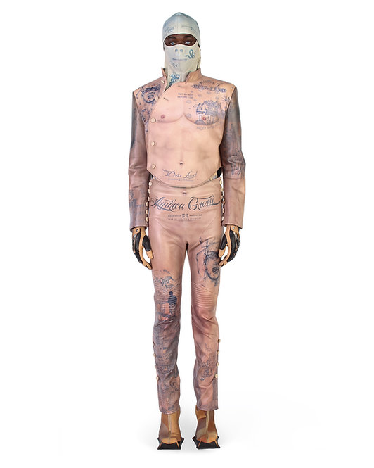 ANDREA GROSSI 3D PRINTED BODY BIKER LEATHER JACKET