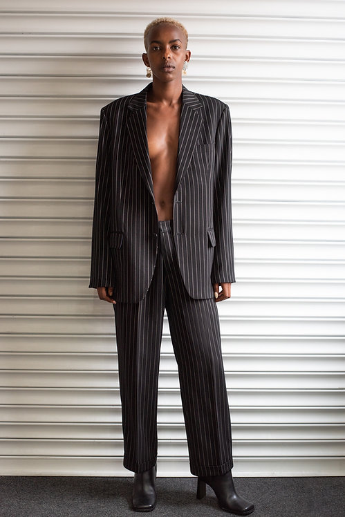 VERSACE PINSTRIPED BLACK SUIT