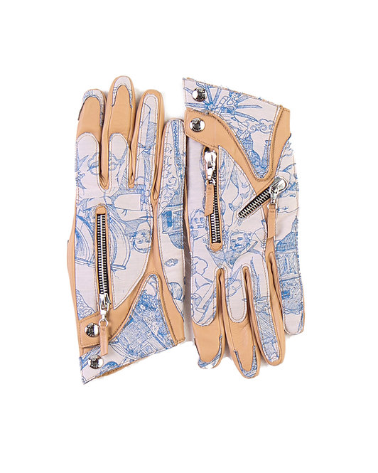 ANDREA GROSSI X CHANNEL CAUSSÈ JACQUARD LEATHER DRIVER GLOVES