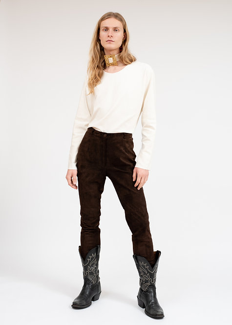 LEATHER TROUSERS | LONG SLEEVE TOP