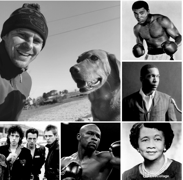Clockwise From Left: Me, Sally, Ali, Coltrane, Height, Mayweather, The Clash.