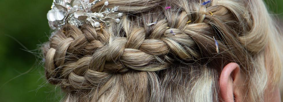 Bridal hair close up image