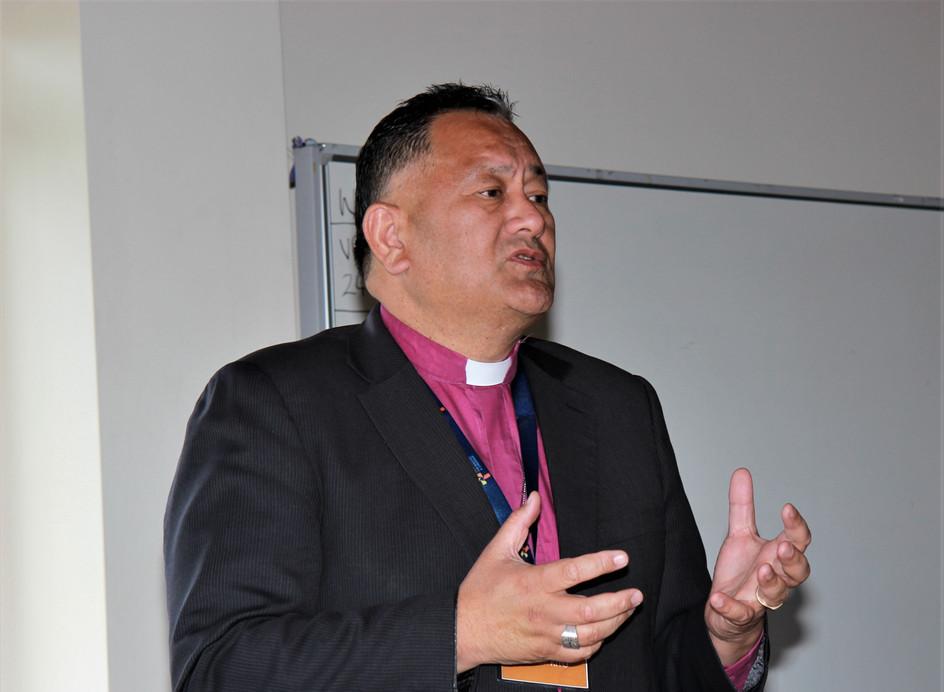 Bishop Peter Kito leading Powhiri