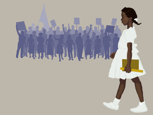 Ruby Bridges walks to school before the protestors.  One of many images in the production.