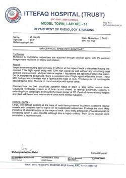 Muskan's diagnosis