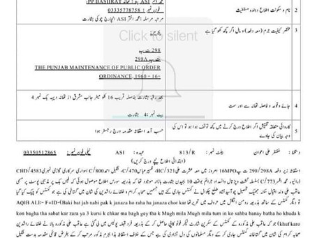 Sunni activist file #blasphemy case under Sections 298,298A PPC and 16 MPO against a Shia guy