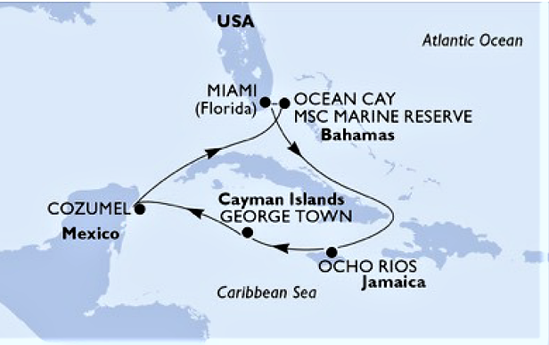 Itinery MSC Seaside 2020 MAP.png