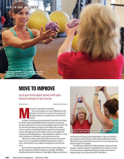 Move to Improve instructor Jennifer Jones with MS patient