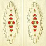 Cahle teracota Macon pictate- Model Trandafir, placa, culoare rosu