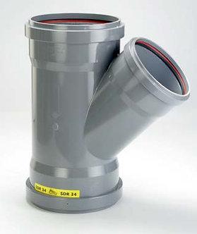 Ramificație PVC cu 3 mufe la 45° și 87° SN8 (KGEA)