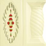 Cahle teracota Macon pictate- Model Trandafir, stalp, culoare rosu