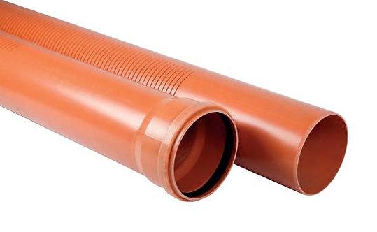 Ţevi drenaj PVC COMPACT cu o mufă şi garnitură SN8 - Fante 2mm