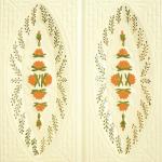 Cahle teracota Macon pictate- Model Trandafir, placa, culoare portocaliu