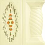 Cahle teracota Macon pictate- Model Trandafir, stalp, culoare portocaliu