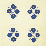 Cahle teracota Macon pictate- Model Panseluta, placa, culoare bleumarin