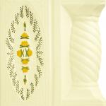 Cahle teracota Macon pictate- Model Trandafir, stalp, culoare galben