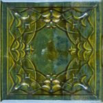 Cahle teracota Macon clasic-Model Ghiocel, placa, culoare verdeV12