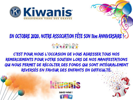 En octobre 2020, notre association fête son 11ème Anniversaire !
